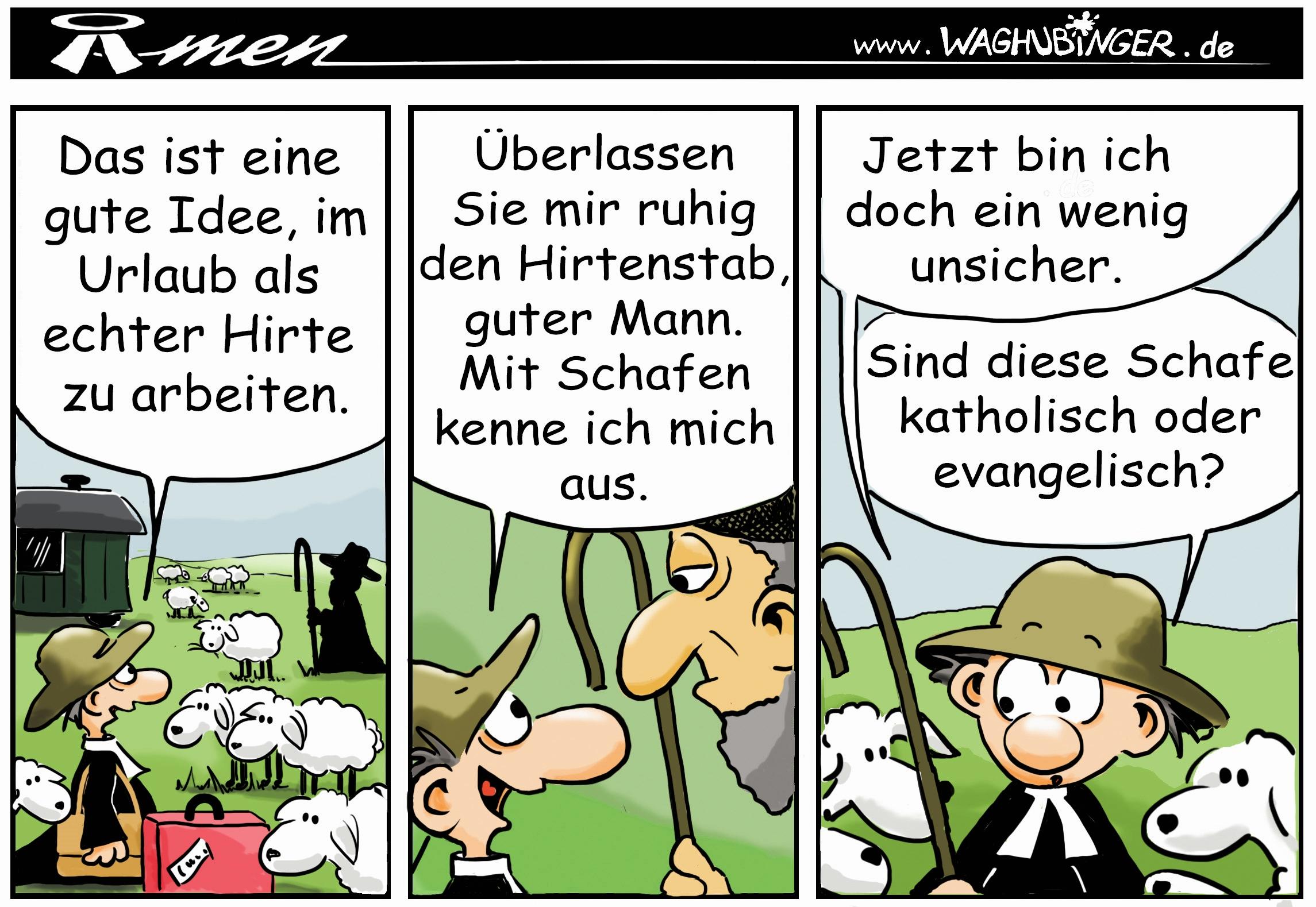 Der Pastor - evangelischer Comic - MITTENDRIN - Gemeindebrief für Ludwigsau - Katholische Schafe!