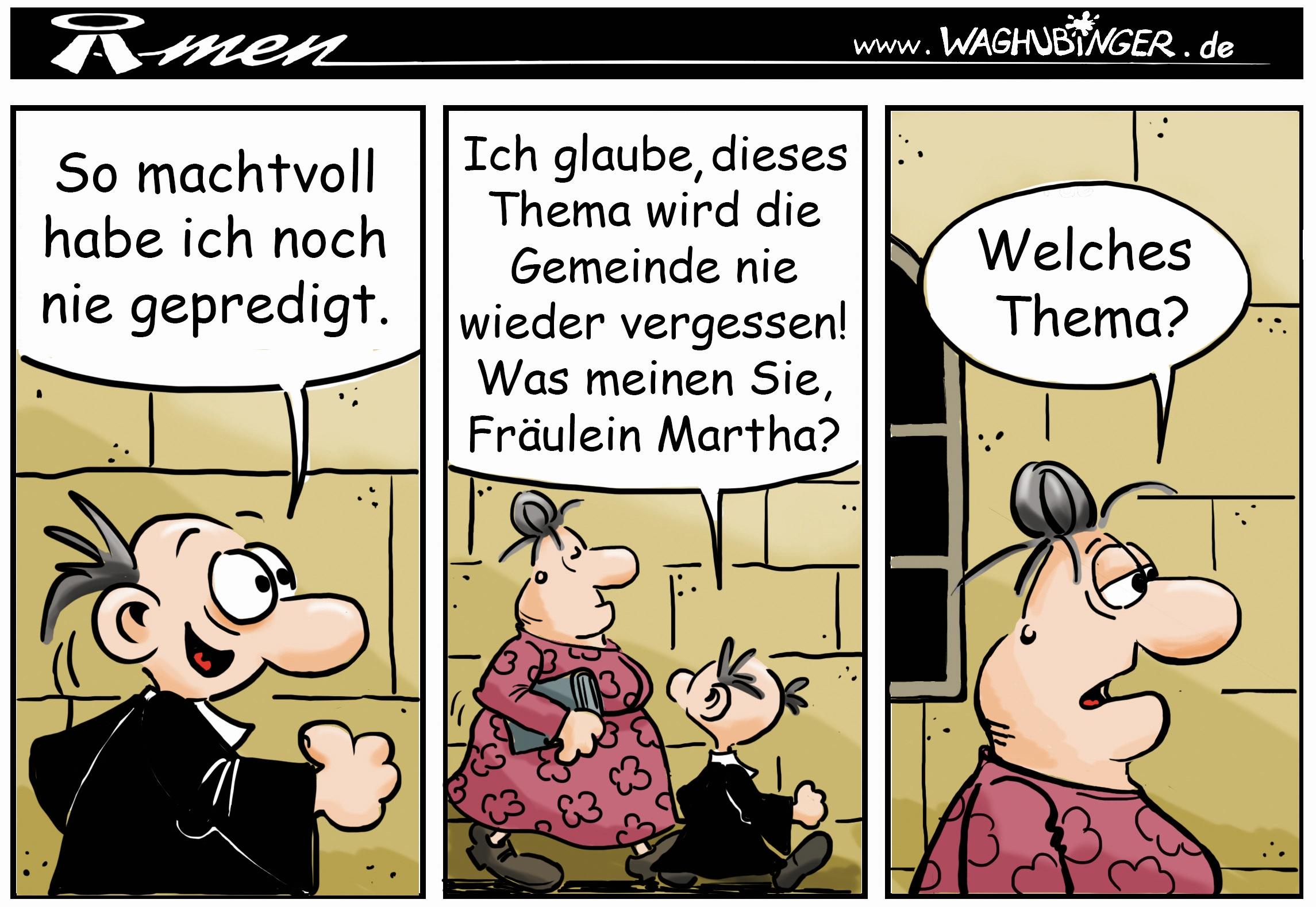 Der Pastor - evangelischer Comic - MITTENDRIN - Gemeindebrief für Ludwigsau - Welches Thema?